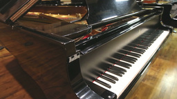 Static shot of steinway grand piano Stock Video Footage