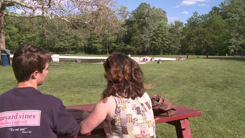 Couple at picnic table (1 of 2) Stock Video Footage