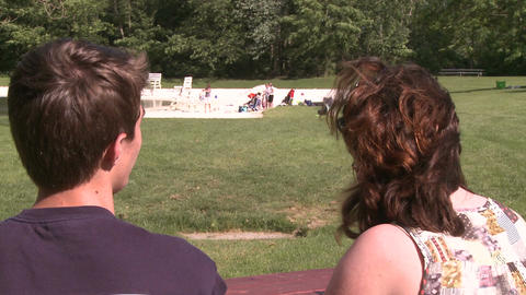 Couple at picnic table (2 of 2) Stock Video Footage