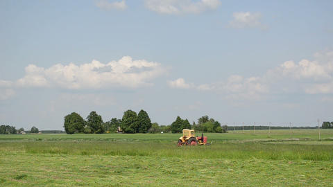 color tractor cutting the grass summer day near the... Stock Video Footage