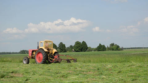 tractor cutting the grass makes bend in the meadow Stock Video Footage