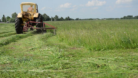 tractor makes sharp turn in meadow and leaves cut grass... Stock Video Footage