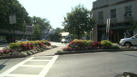 Traffic going through small town with flowers in median strip (1 of 2) Footage
