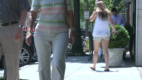People walking down sidewalk (1 of 4) Stock Video Footage