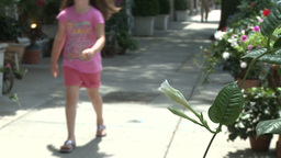 Mother walking stroller and young child down sidewalk Stock Video Footage