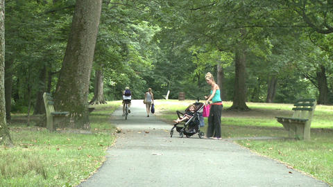 Woman with stroller walking in park Footage