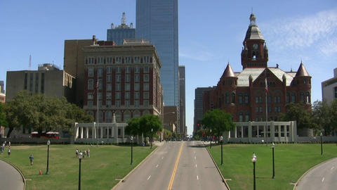Red Court House Dealey Plaza Main Street 2015 Stock Video Footage