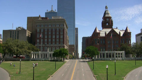 Red Court House Dealey Plaza Main Street 2015 stock footage