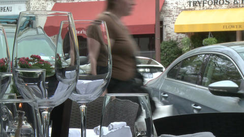 Looking out to sidewalk from table in restaurant Stock Video Footage