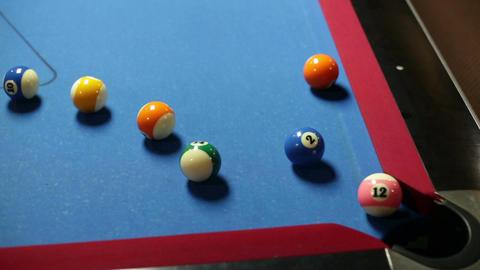 Pool game corner shot miss Stock Video Footage