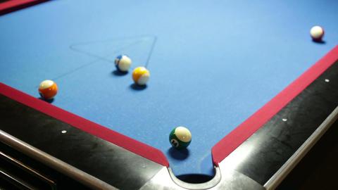 Pool game corner shot sink green 14 Footage