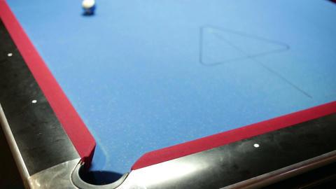 Pool game corner shot sink yellow Stock Video Footage