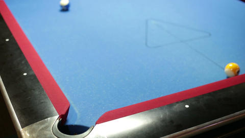 Pool game corner shot sink yellow Footage