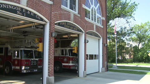Town firehouse (1 of 2) Stock Video Footage