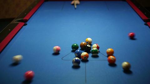 Pool Game Break 1 stock footage