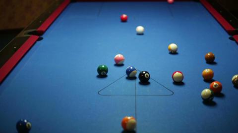 Pool game break 1 Stock Video Footage