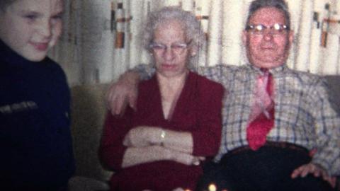 (8mm Vintage) 1965 Worst Birthday Ever Grandpa Hate Camera, Grandma Doesn't Smil Footage