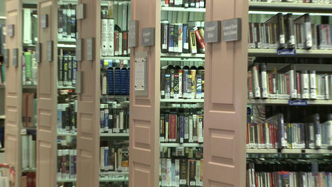 Rows of tapes in the library Footage