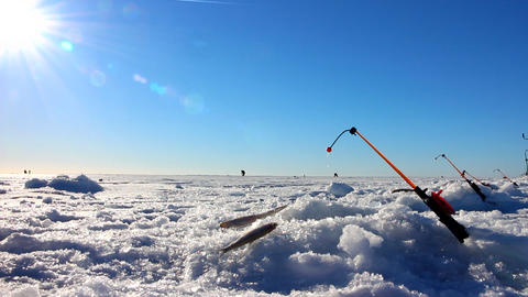 Ice fishing episode with fishing rod Footage