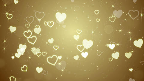 Gold Hearts And Stars Falling Seamless Loop 4k (4096x2304) stock footage