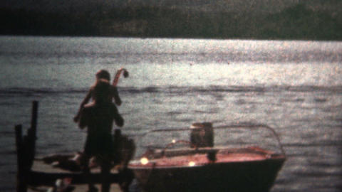 (8mm Vintage) 1966 Boys Going Snorkeling Down At The Lake Footage