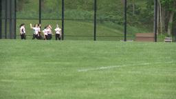 Girls softball team at practice Footage