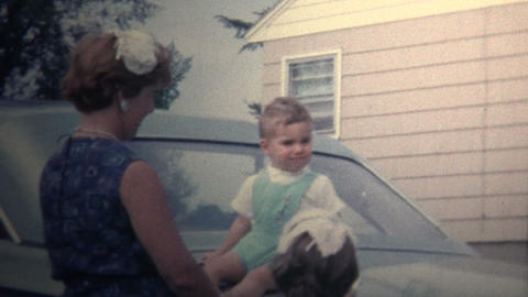 (8mm Vintage) 1966 Family Sitting On Trunk Of Car Footage