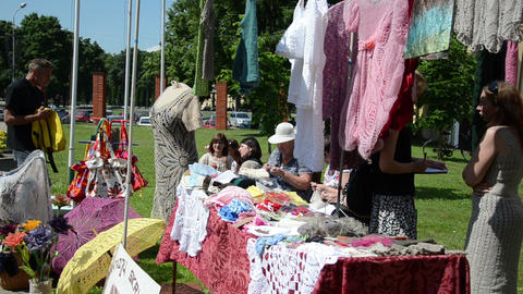 fair trade knitted dresses hats scarves shawls umbrellas Footage