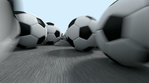 Endless soccer balls flight Animation