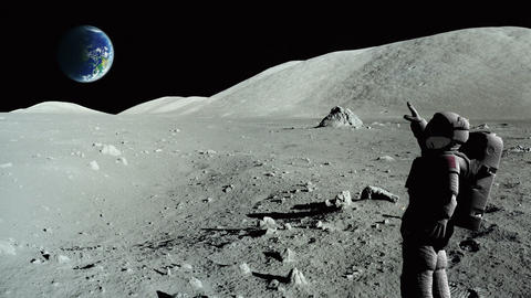 Astronaut waving on the moon, earth in the background Footage