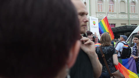 Gay and lesbians walk in the Gay Pride Parade in Vilnius Footage