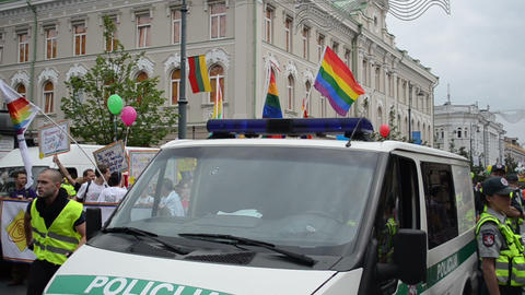 police forces patrolling city ensure safety of homosexual march Footage