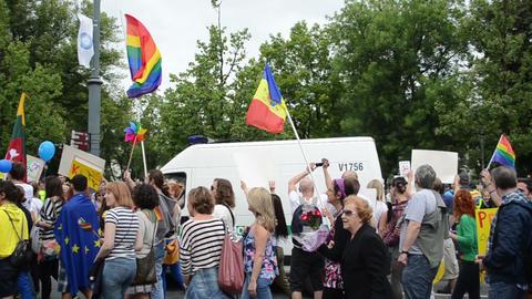 yearly gay lesbian Baltic parade main street balloons flag Footage