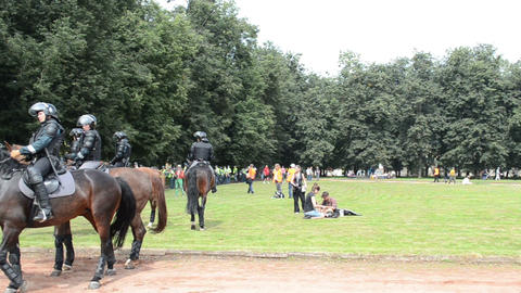 event patrolled armored police horses forces ensure security Footage