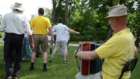 Rural community festival. People dance Footage