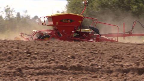 machine spread fertilizer on cultivated field soil in autumn Footage