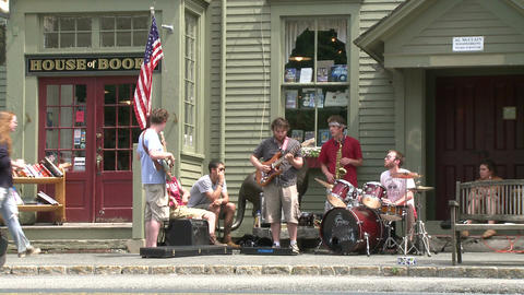 Small band Playing in front of a Country Store Footage