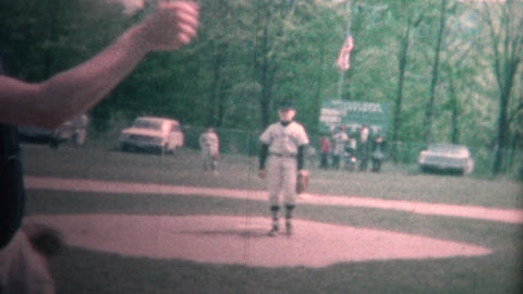 (8mm Vintage) 1965 Boy Playing Little League Baseball Pitching Footage