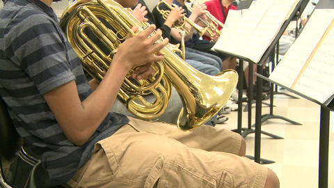 Middle school students practicing in Music Class (8 of 10) Footage