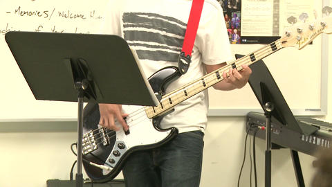 Middle school students practicing in Music Class (1 of 10) Footage
