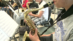 Middle school students practicing in Music Class (6 of 10) Footage