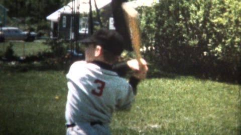 (8mm Vintage) 1966 Boy Practice Swinging Like Baseball Babe Ruth Footage