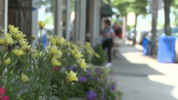 Flower box on sidewalk with shoppers in the background Live Action