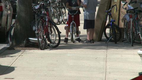 Several bicycles on sidewalk Footage