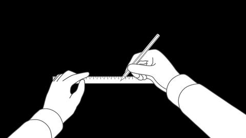 Hand Draws a Line with a Ruler (with Alpha Channel) Animation