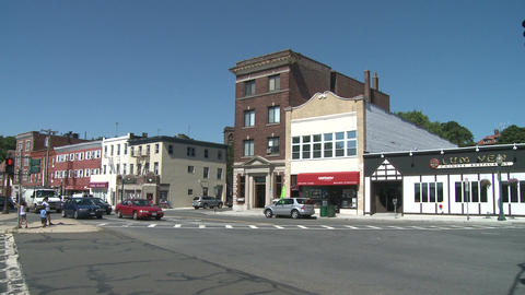 A view of buildings and traffic in town Stock Video Footage