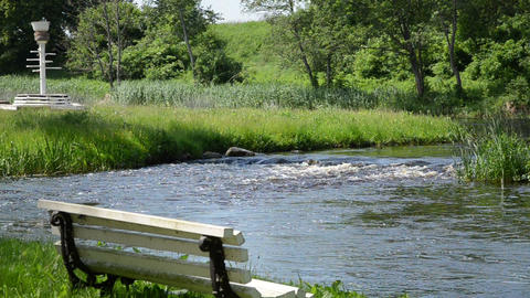 beautiful view park ripple torrential creek stands white bench Footage