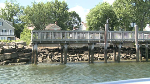 Boat dock and pilings on a river Live Action