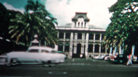 (8mm Vintage) 1955 Honolulu Hawaii Downtown Sites Footage