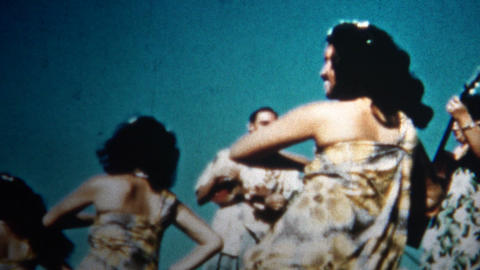 (8mm Vintage) 1955 Hawaiian Hula Dancers Sunset stock footage